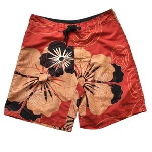 Billabong Rust Black Tan Floral Board Shorts 34